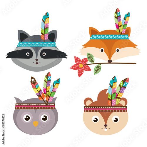 Foto op Aluminium Uilen cartoon woodland animals with feather crown vector illustration design