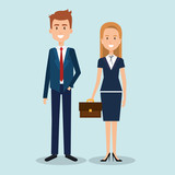 couple of professional workers vector illustration design - 183371281