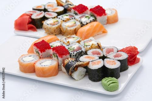 Tuinposter Sushi bar sushi set on the white background