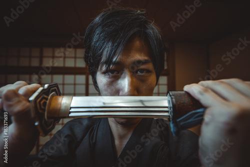 Samurai training in a traditional dojo, in Tokyo Poster