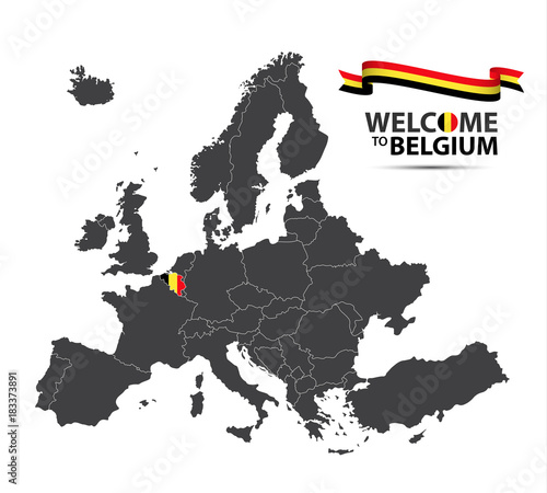 Fototapeta Vector illustration of a map of Europe with the state of Belgium in the appearance of the Belgian flag and Belgian ribbon isolated on a white background