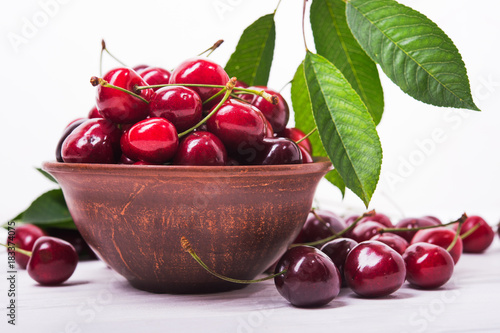 Fotobehang Kersen fresh red cherry fruit