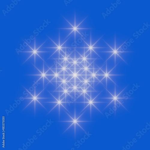 White snowflake icon on blue sky background.