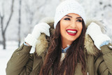 Fashion young woman in the winter time - 183375256