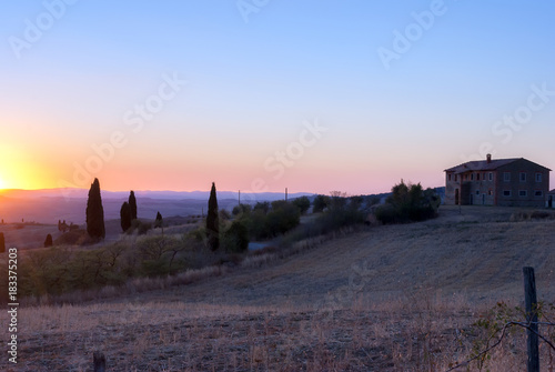 Fotobehang Toscane Toscana al tramonto