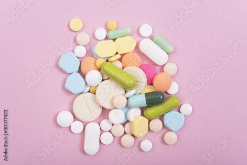Aluminium Apotheek colorful medicine. Pharmacy on pink background.