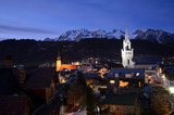 Panorama of Schladming and the Dachstein mountains at dawn, Styria, Austria - 183380821