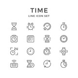 Set line icons of time - 183380868
