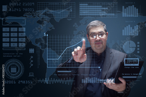 Poster Businessman and futuristic HUD interface