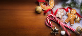 Christmas holidays ornament flat lay; Christmas card background - 183384026