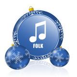 Folk music blue christmas balls icon - 183384614