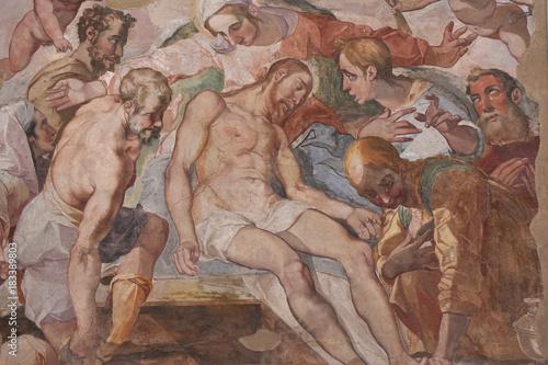 Foto op Canvas Napels Napoli, Certosa di San Martino, 1325, complesso monumentale religioso.. Affresco della cappella della chiesa.