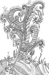 Coloring page with surreal landscape  tree.