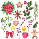 Set of Watercolor Christmas Cookies, Bows and Plants - 183392430
