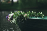 Small boat decorated with flower - 183394278