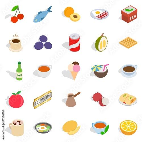 Harmful dessert icons set, isometric style