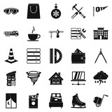 Strong house icons set, simple style - 183397232