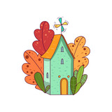 Hand drawn fairy house with windmill on roof, surrounded by plants. Vector in kid s cartoon style. Line doodle design for poster, invitation card, logo or cover