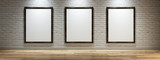 White canvas on the wall of the gallery - 183401060
