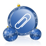Paperclip blue christmas balls icon - 183407676