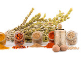 Herbs and spices isolated on white background. Mountain tea, paprika, curry, coriander and mill for spices. Colorful composition of spices. - 183414892