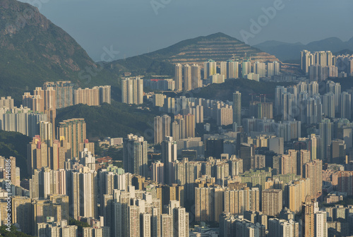 Aerial view of residential district of Hong Kong city Poster