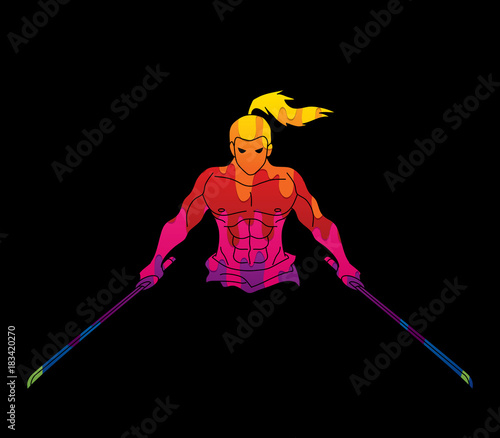Foto op Plexiglas Graffiti Angry Samurai standing with swords front view designed using colorful graphic vector.