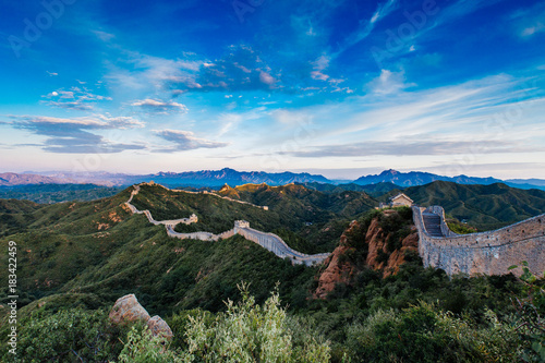 Foto op Canvas Peking Beijing, China - AUG 12, 2014: Sunrise at Jinshanling Great Wall of China