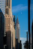 Chrysler Building at daylight with moon in winter afternoon - 183423014