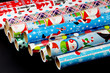 colorful wrapping paper isolated on black background