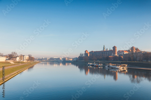 Sunrise over the historic royal Wawel Castle in Cracow, Poland
