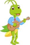 cute grasshopper cartoon standing with play guitar
