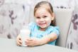 Little child girl drinking a milk at kitchen