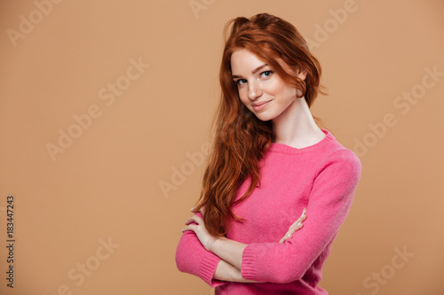 Plakát Close up portrait of an attractive young redhead girl