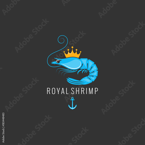 Fototapeta shrimp logo on black background