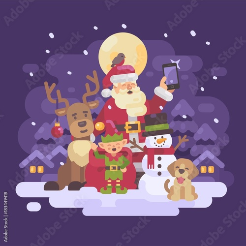 Fotobehang Aubergine Santa Claus with reindeer, elf, snowman and dog taking a selfie in a snowy night winter village landscape. Christmas characters greeting card flat illustration
