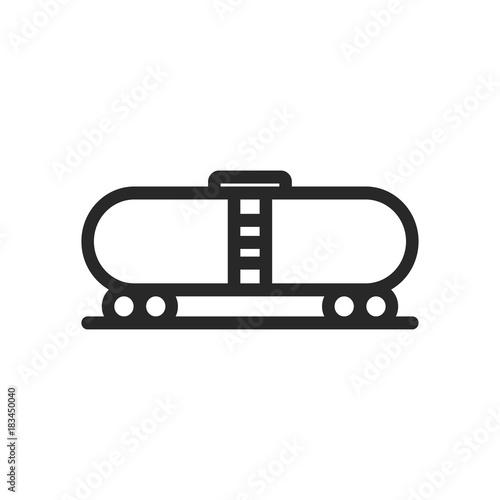 Sticker Cargo Wagon Train Railcar Container Minimalistic Flat Line Icon