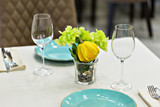 close up of table setting with glasses and cutlery - 183450855