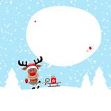 Rudolph Sleigh Gift Speechbubble Snow Blue