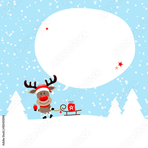 Rudolph Sleigh Gift Speechbubble Snow Blue - 183451094