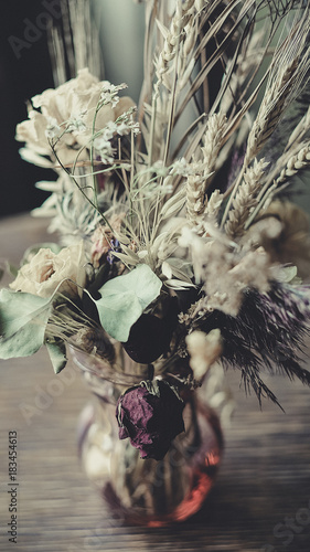 bouquet of dried flowers on the table