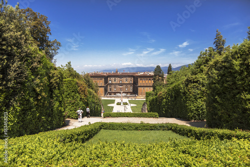 Tuinposter Florence The Boboli gardens with views of the Palazzo Pitti. Florence, Italy