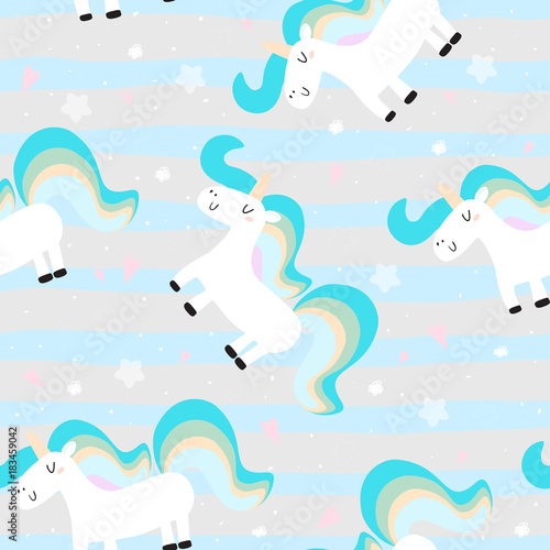 Cotton fabric cute unicorn on a pink backgroun. vector pattern