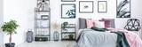 Bedroom interior with floral motif - 183460635
