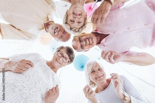 Elderly friends have fun