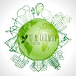 Green planet with circle ecology doodles. Sketched eco elements with earth and world map