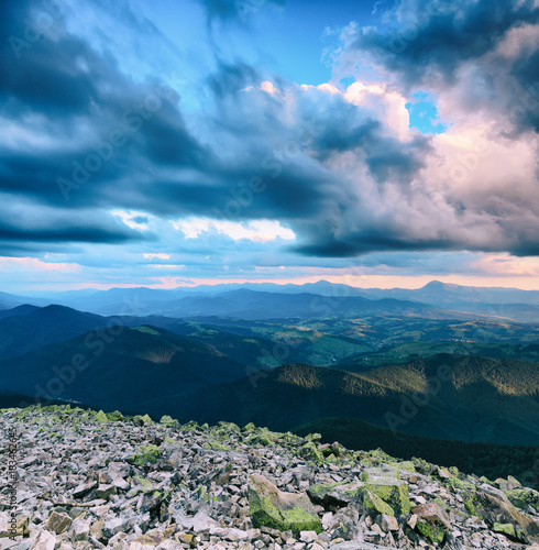 Plexiglas Lichtroze Carpathian mountains summer landscape with blue sky and clouds