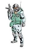 snow soldier in a gas mask,illustration,art,design,color - 183464882