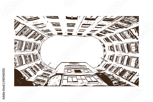 Hand drawn sketch illustration of Building Barcelona, Spain in vector