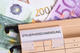 Euro Geldscheine und ein Ordner mit dem Aufdruck Steuerverschwendung